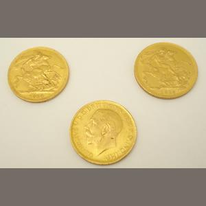 Three gold sovereigns