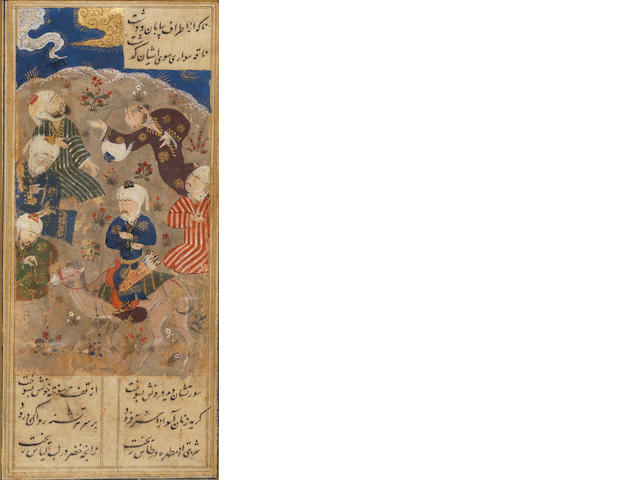 Four illustrated leaves from a manuscript of Persian poetry depicting a hunting scene, an enthronement, an encounter between a camel rider and a group of dervishes, and a princely procession halting beside a stream next to which lies a youth NOT WORTH 4-6000 - 2-3000 MANIJEH? Turkman School, circa 1500(4)