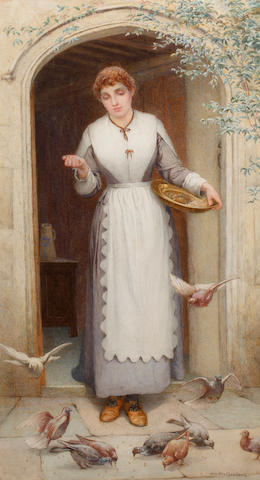 William Harris Weatherhead (British, 1843-1903) Feeding the doves