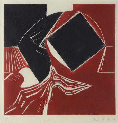 Adrian Heath (British, 1920-1992) Untitled  Linocut printed in black and red, 1991, on laid japan, signed, titled, dated and numbered 5/10 in pencil, with wie margins, 300 x 300mm (11 3/4 x 11 3/4in)(B)