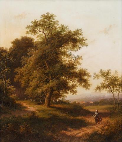 Jan Evert Morel I (Dutch, 1777-1808) Figures on a woodland path