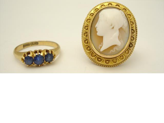 A cameo ring and a sapphire ring
