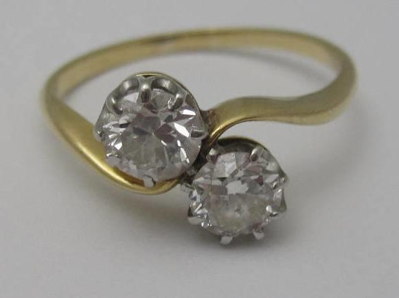 A diamond two-stone ring