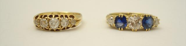 A diamond five-stone ring and a sapphire and diamond ring (2)