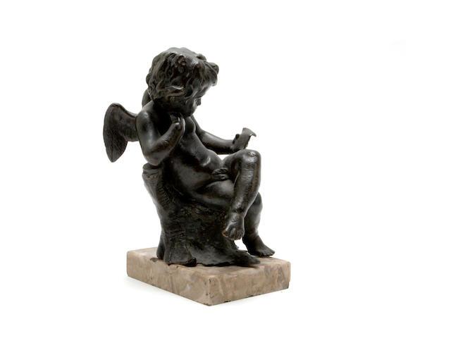 A 19th century bronze cherub