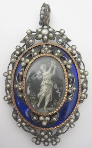 A 19th century seed pearl and enamel brooch/pendant