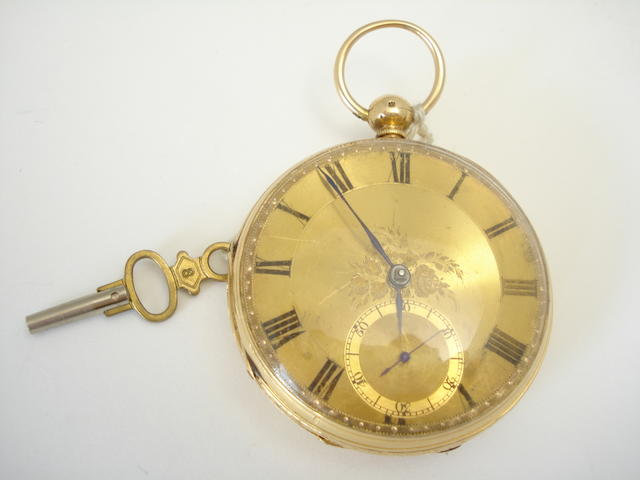 An 18ct gold open faced pocket watch, Chester 1864