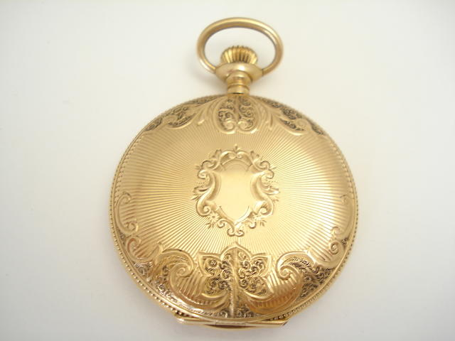 A hunter pocket watch, by Waltham