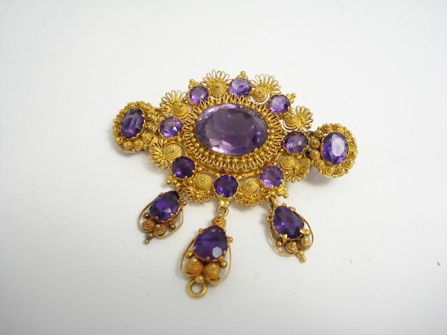 A 19th century amethyst brooch