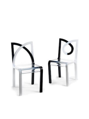 Marcello Morandini for Metea Pair of Prototype Nurnberg Chairs designed and executed 2009  one with etched signature, also inscribed Nurnberg Prototypo perspex  Height: 81 cm.                31 7/8 in.