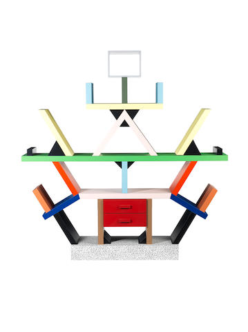 Ettore Sottsass for Memphis Milano Carlton Room Divider  designed 1981   laminated wood   Height: 197.5 cm.          77 3/4 in.  Width: 190 cm.  74 13/16 in.