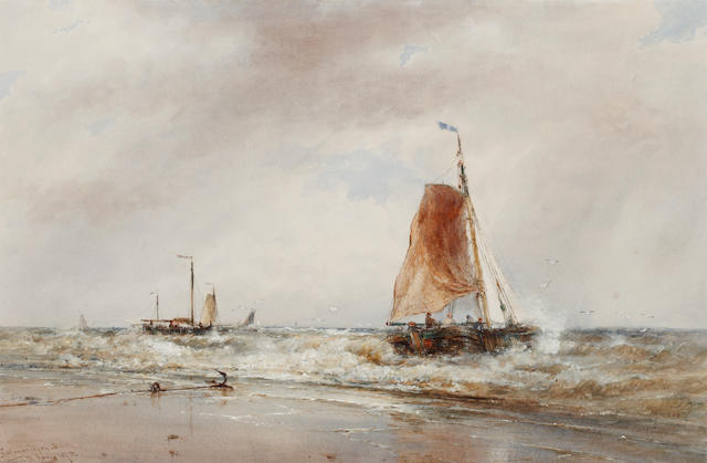 Thomas Bush Hardy (British, 1842-1897) Scheveningen beach