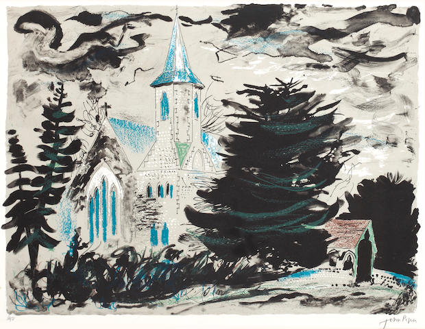 John Piper (British, 1903-1992) High Cross, Hampshire colour lithograph signed in pencil and numbered 6/25, 410 x 520 mm (16 1/8 x 20 1/2 in.)