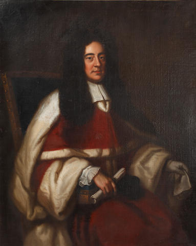English School, 18th Century Portrait of a gentleman, seated and in judges' robes, a scroll in his left hand