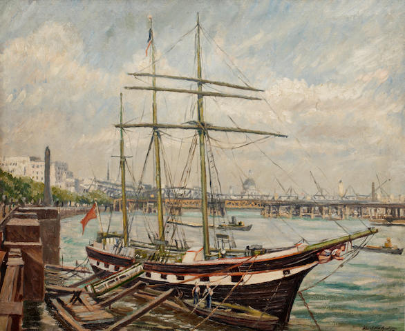 Karl Hagedorn (British, 1889-1969) Thames Embankment