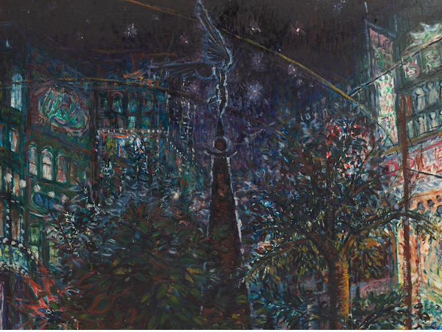 Peter Snow (1927-2008) Place de Brouhere; and Hague at night 122 x 103 cm. (48 x 40 1/2 in.)