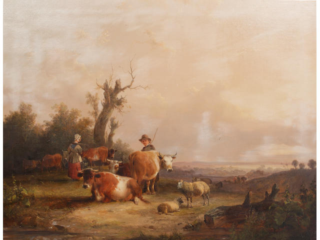 William Shayer, Snr. (British, 1787-1879) Cattle and sheep in a landscape, with milkmaid and farm labourer
