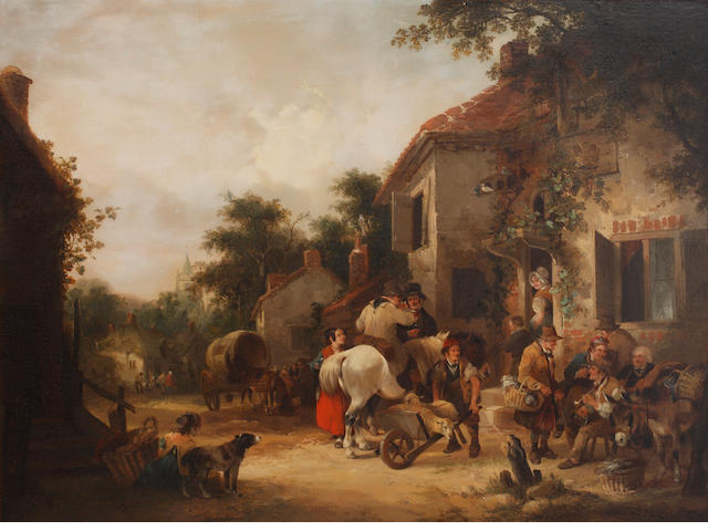 William Shayer, Snr. (British, 1787-1879) Market day, with numerous country folk outside a country inn