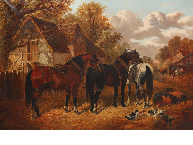 Follower of John Frederick Herring, Jnr. (British, 1815-1907) Three harnessed horses before a thatched barn