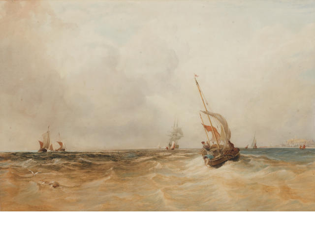 Anthony Vandyke Copley Fielding, P.O.W.S. (British, 1787-1855) Fishing boats off Folkestone