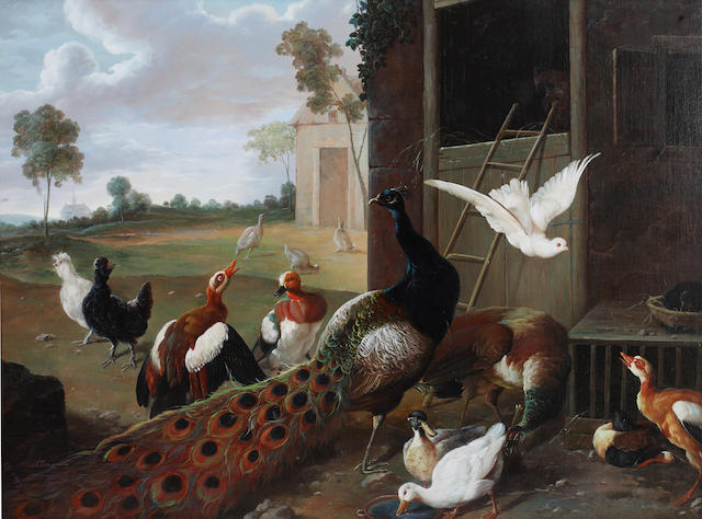 G. Metsu, 20th Century Peacock with other birds in a farmyard