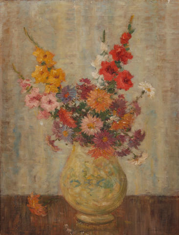 Camille Matisse (French, 20th Century) Still life of summer flowers in a vase