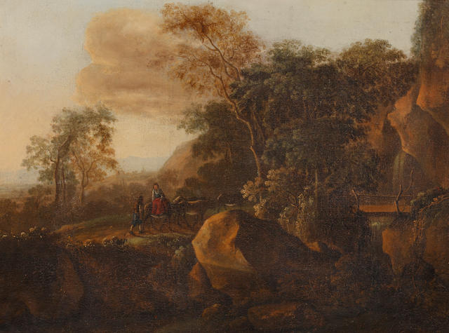 Continental School, late 18th Century Figures and livestock in a rocky landscape