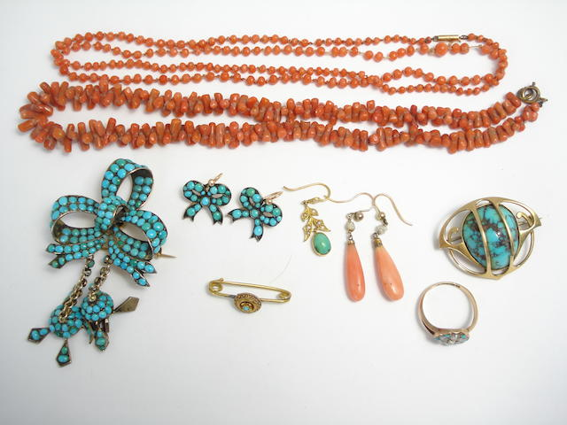 A collection of Victorian and early 20th century coral and turquoise jewellery (9)