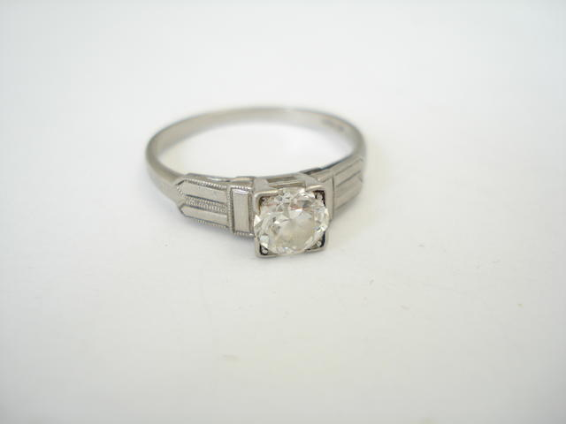 A diamond single-stone ring, 1950s