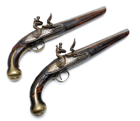 A pair of 23 bore Turkish flintlock pistols