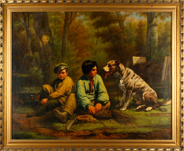Continental School, 19th Century Two boys and a dog