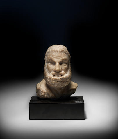 A Roman marble bust of Hercules