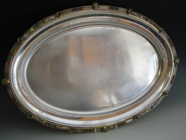 A Swiss silver-gilt, silver and gem set oval tray retailed by Meister, Zurich, recent, stamped 800 and *9 80