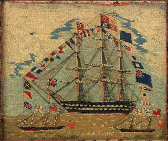 A sailors woolwork picture, 12.2x14.5in.(31x37cm)