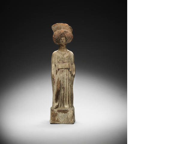 A Large Greek Terracotta Figure Boeotian circa 5th Century B.C. (head broken off at neck)