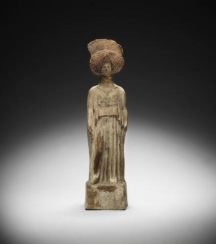 A Large Greek Terracotta Figure Boeotian circa 5th Century B.C.