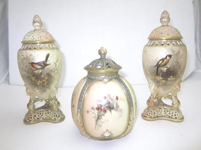 A pair of Grainger & Co blush ivory pot pourri vases 1900
