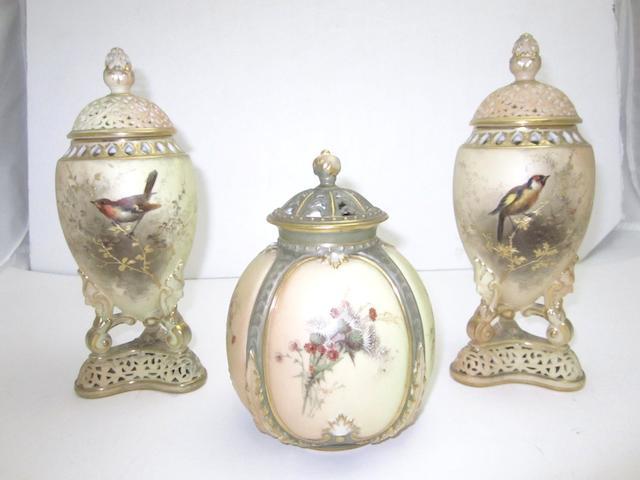 A pair of Grainger & Co blush ivory pot pourri vases 1900