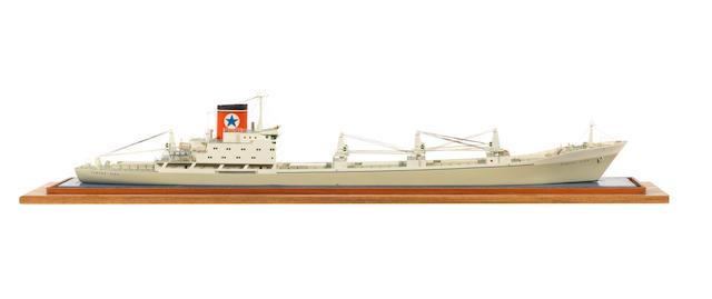 A waterline model of the Blue Star cargo liner MV Almeda Star 1975