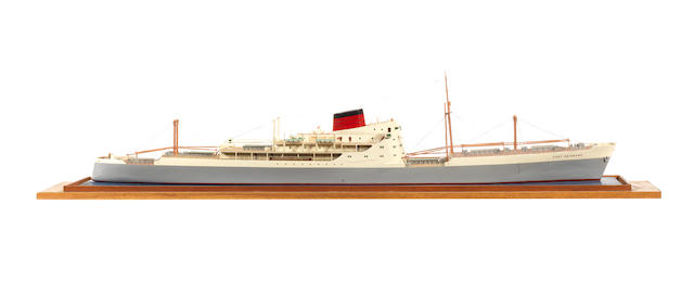 A waterline model of the MV Port Brisbane 1949 51x9x10.5ins. (129.5x23x27cm)