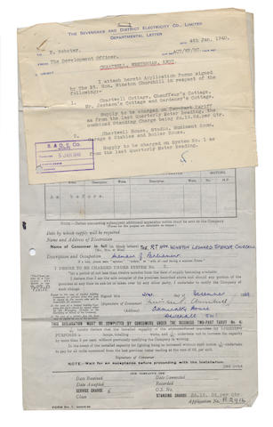 CHURCHILL (WINSTON) Wartime application form for supplying electricity to Chartwell, signed, 1939