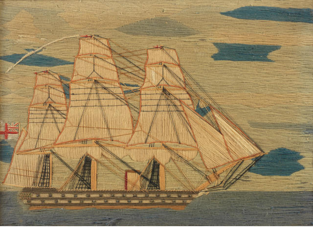 A sailor's woolwork picture of an auxiliary sailing warship. 12x16ins. (30x41cm)