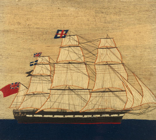 A sailor's woolwork picture of a three mast merchant ship. 17x19ins. (43x48cm)