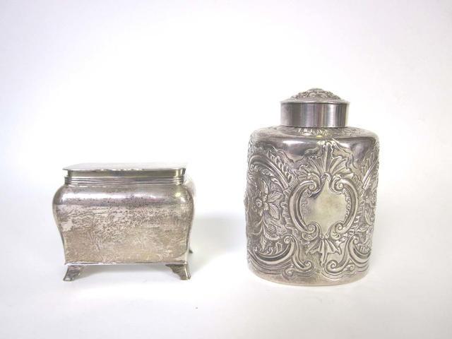 A George III silver tea caddy by John III & Edward I Edwards, London 1812  (2)