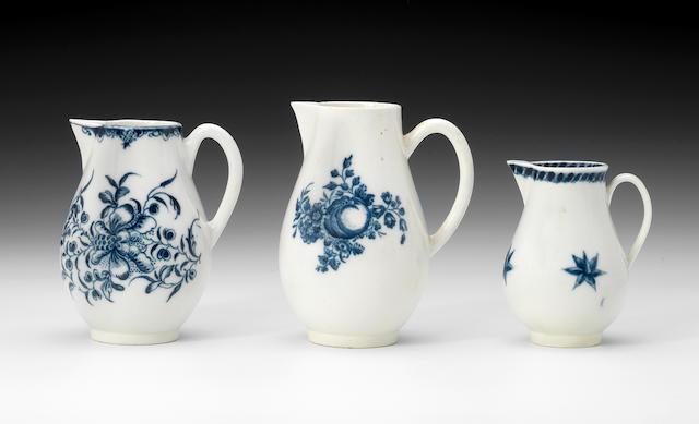 Three early Caughley sparrow beak jugs, circa 1772-80