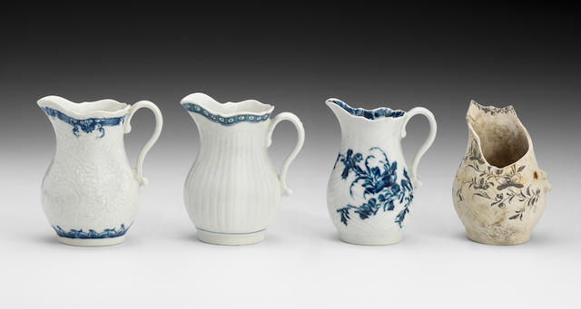 Three Worcester cream jugs and a biscuit waster, circa 1760-65