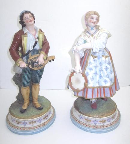 A pair of continental bisque figures Circa 1900