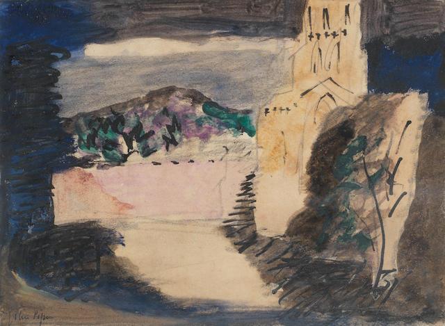 John Piper C.H. (British, 1903-1992) Milton Abbas 12.6 x 17.6 cm. (5 x 7 in.)