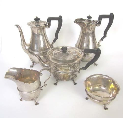 A silver five-piece tea and coffee service by H Wilkinson, Sheffield 1927