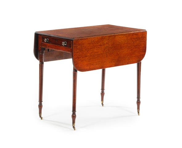 A small early 19th century mahogany and inlaid Pembroke table